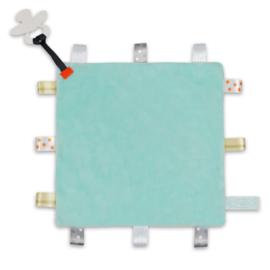 Labeldoekje speen mint, 100% polyester 24×24 cm