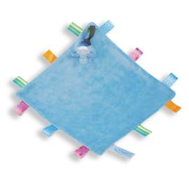 Labeldoekje speen blauw, 100% polyester 24×24 cm