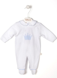 Velour babygrow Little Crown - big blue crown