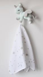 Baby unicorn Mint/Grijs met doekje