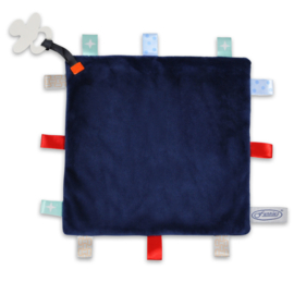 Labeldoekje speen navy, 100% polyester 24x24 cm