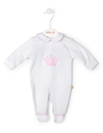 Cotton babygrow Little Crown - big pink crown