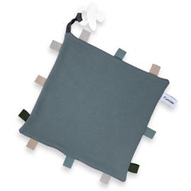 Labeldoekje speen Grey/blue, 100% Katoen 25x25 cm