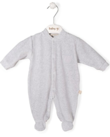 Velour babygrow grey Little Teddy with teddy - vichy