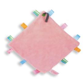 Labeldoekje speen roze, 100% polyester 24x24 cm