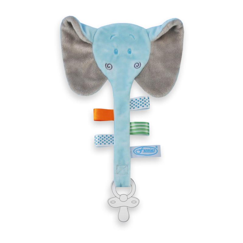 Fopspeenhouder olifant  licht blauw