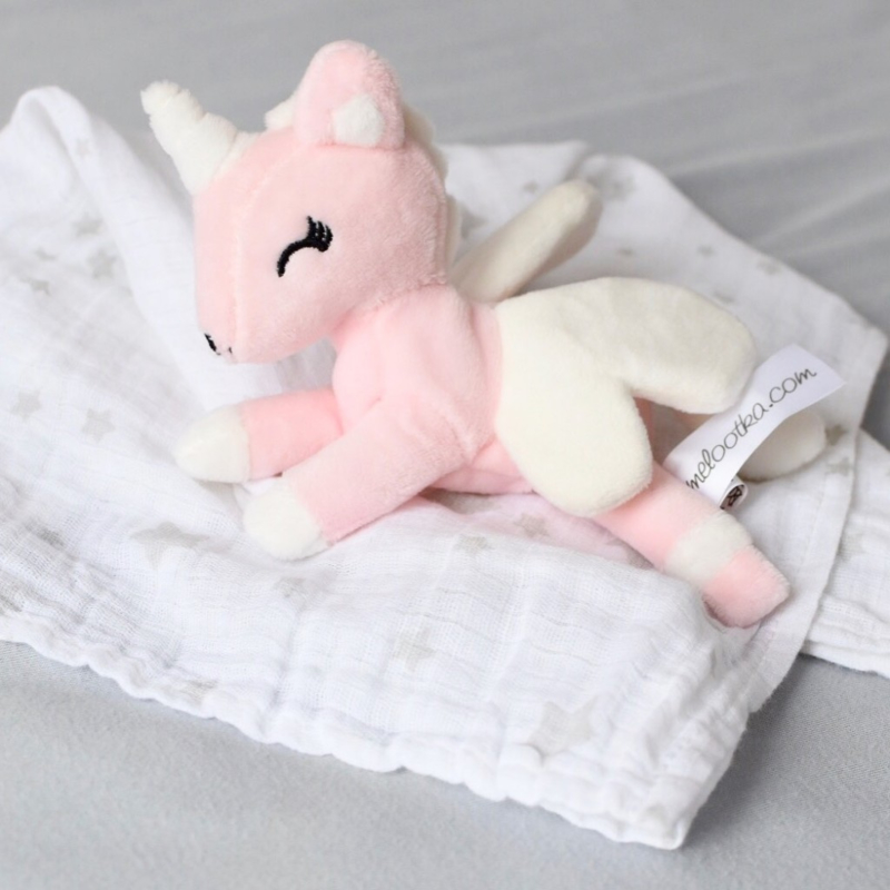 Baby unicorn Roze/Wit met doekje
