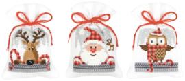 Kruiden of snoepzakjes kerstfiguren (set van 3) PN-0149462
