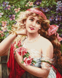 YOUNG LADY WITH ROSES (petit point)