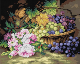 Voorbedrukt stramien Mand met druiven - ORCHIDEA 40 x 50