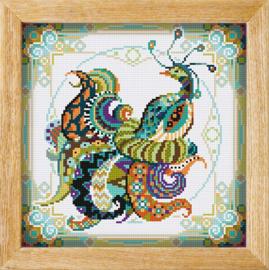 Diamond painting MANDALA Vogels PAUW (Groen)