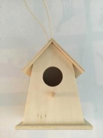 Vogelhuisje hout 11 x 9 cm rond/brede onderkant