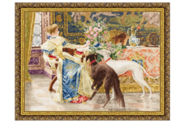 SEATED LADY WITH GREYHOUNDS S/MK047