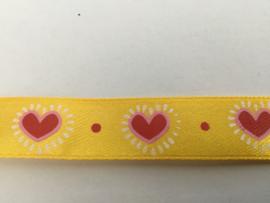 Geel met rose hart 16mm 1mtr.
