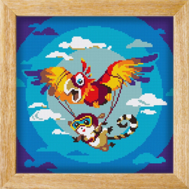 Diamond painting MANDALA FUNNY ANIMALS PARACHUTE PARROT