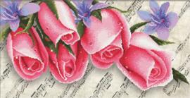 VOORBEDRUKT BORDUURPAKKET PINK ROSES & MUSIC - NEEDLEART WORLD