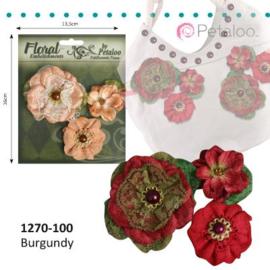 Petaloo • Velvet & lace Burgundy - Bloemen van kant  (3 stuks)