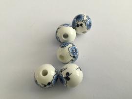 Handgeschilderde delfstblauwe kralen 5/zakje 1,5 cm