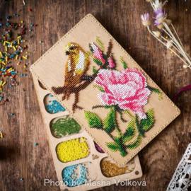 KRALEN (SET) DOOS (10 vakjes) deksel te borduren ROSE WITH BIRD