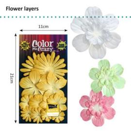 Petaloo • Flower layers Yellow - Papieren bloemblaadjes  (12 stuks)