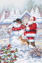 Borduurpakket LETI 8015 Snowman and Santa