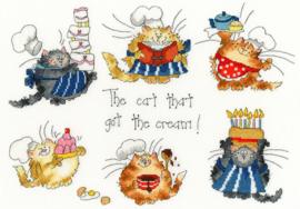 BORDUURPAKKET MARGARET SHERRY - THE CAT THAT GOT THE CREAM - BOTHY THREADS