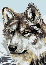 Wizardi Paint-By-Numbers - WOLF (16.5 x 13 cm)
