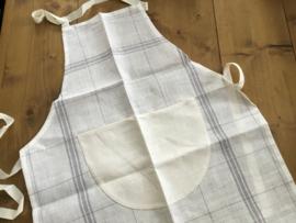 Keukenschort 100% linnen met opgestikte zak om te borduren.