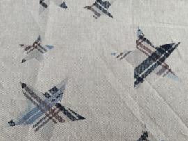 Linnenlook ecru met ster blauw 50 x 55 cm 100% katoen
