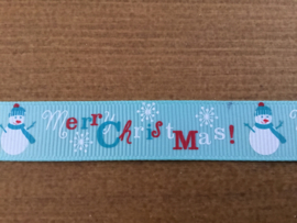 Merry Christmas blauw 16mm 1mtr.