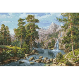 SCENERY WITH WATERFALL WD2459 100 x 68 cm