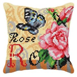 KRUISSTEEK KUSSEN ORCHIDEA - ROSE WITH BUTTERFLY