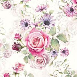 Ambiënte servetten 5st - Rozen lila en roze 33x33cm