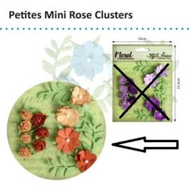 Petaloo • Petites mini rose clusters tan-brown - Papieren bloemen  (11 stuks)