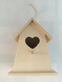 Vogelhuisje hout 11 x 9 cm hart/brede onderkant