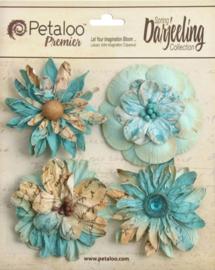 Petaloo • Wild blossom aqua - Papieren bloemen  (4 stuks)