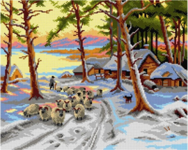 Voorbedrukt stramien After Joseph Farquharson   Homeward through the Glistening Snow - ORCHIDEA  50 x 70