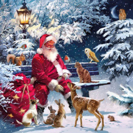 Ambiënte servetten 5st - Kerstman op de bank 33x33cm
