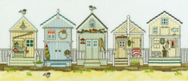 CROSS STITCH KIT SALLY SWANNELL - NEW ENGLAND: BEACH HUTS - BOTHY THREADS