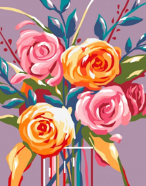 Wizardi Paint-By-Numbers - GENTLE ROSES (16.5 x 13 cm)