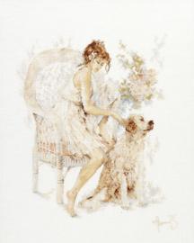 Romance - Meisje op Stoel met Hond (linnen)