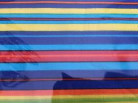 Kleine Fat Quarter 50 x 50 cm  Blauw met gekleurde  streep.