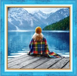 Meisje bij het meer (40 x 40 cm)