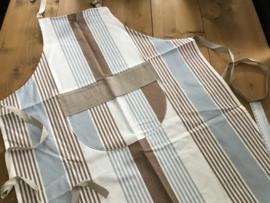 Keukenschort 50% linnen/50% katoen met opgestikte strook om te borduren.