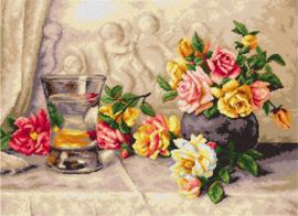 Voorbedrukt stramien Rozen op Zijden Stof  - ORCHIDEA 50 x 70
