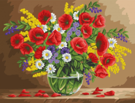 Wizardi Paint-By-Numbers Fragrant Poppies