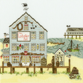 CROSS STITCH KIT SALLY SWANNELL - NEW ENGLAND: THE LOBSTER POT - BOTHY THREADS