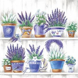servetten 5st - Lavendel 33x33cm