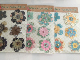 Stoffen bloemen, diverse kleuren (9 st)