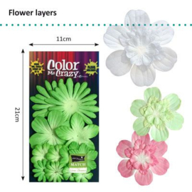 Petaloo • Flower layers Lime - Papieren bloemblaadjes  (12 stuks)